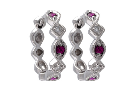 L001-18184: EARRINGS .20 RUBY .25 TGW