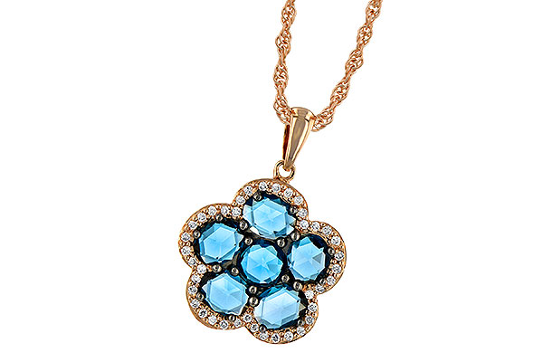 L187-58239: NECK 1.80 ROSE CUT BLUE TOPAZ 1.95 TGW