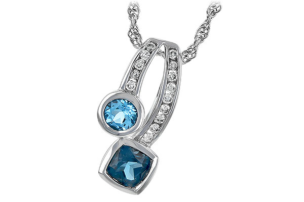 M189-44620: NECKLACE .91 TW BLUE TOPAZ 1.04 TGW